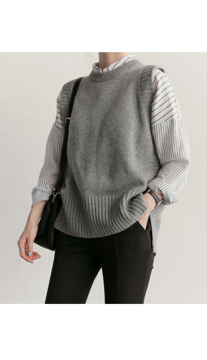 Strickweste New Office Lady grau Casual 2018 Frühling Herbst Frauen Weste Wolle Pullover Westen Poullover Sleeveless Female