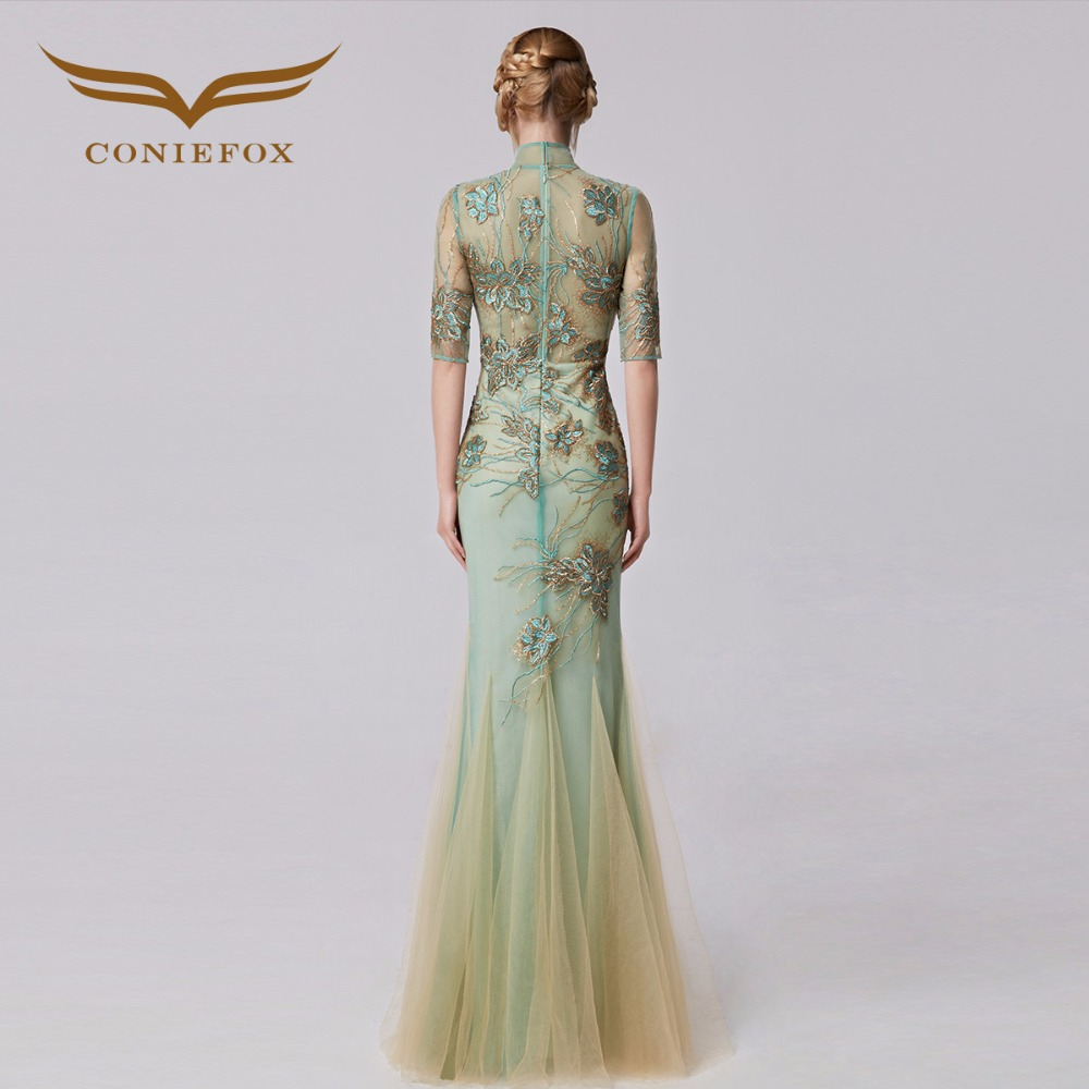 dd4eafcd319 Coniefox 31283 Slim Appliques Mermaid prom dresses Embroidered de festa  Long Evening Gown Dress robe de soiree 2016 autumn-in Evening Dresses from  Weddings ...