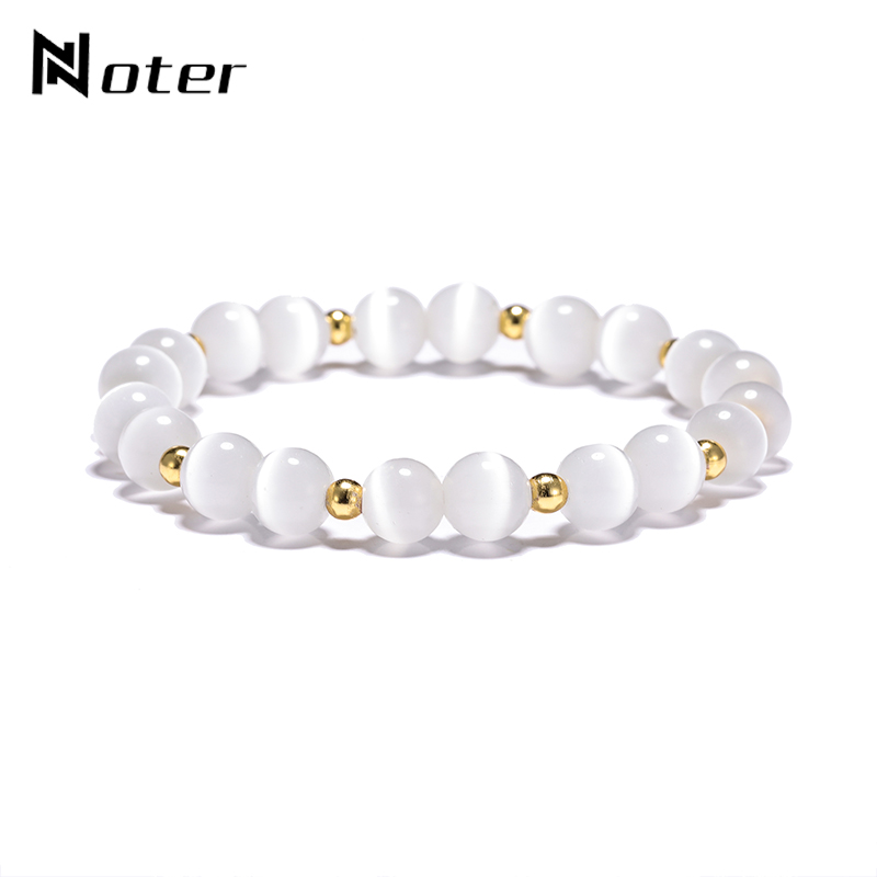 Noter Luxury Natual Stone Opal Bracelet Charms Round Beads Moonstone Braslet For Women Men Hand Jewelry Accessories Pulseira