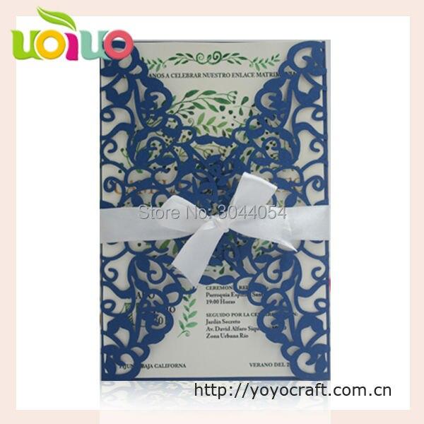 Best Royal blue laser cut flower branch wedding invitation card cutter  OU04