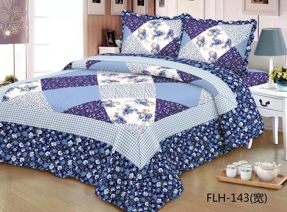 Comfortable high-grade cotton bedding quilted bed cover 220 * 240 double bed garden wind floral mosaic bed coverComfortable high-grade cotton bedding quilted bed cover 220 * 240 double bed garden wind floral mosaic bed cover