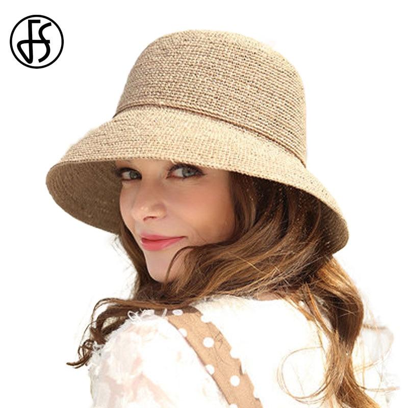 FS 100 Natural Raffia Straw Hat For Women 2018 Summer Elegant Wide Brim Floppy Casual Beach