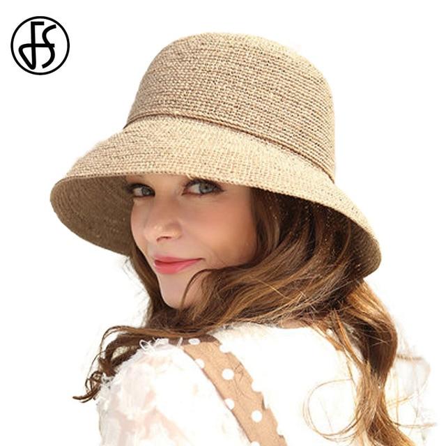 7853fdda8ac FS 100% Natural Raffia Straw Hat For Women 2018 Summer Elegant Wide Brim  Floppy Casual Beach Sunbonnet Fashion