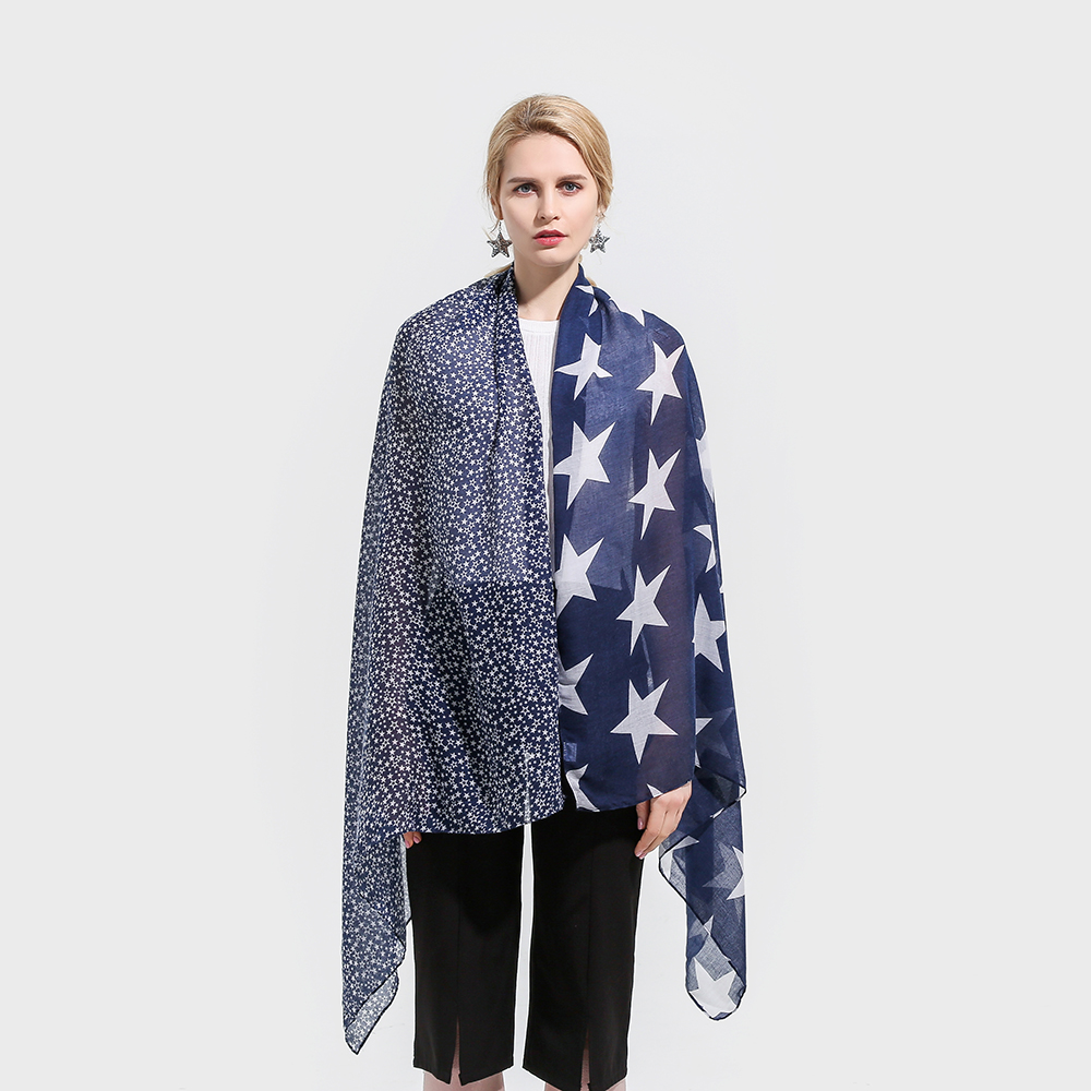 99ab2d9ae4c Winfox 2018 New Fashion Lightweight Soft Navy Color Star Print Belong Scarf  Pashmina Foulard Echarpe Femme Scarves