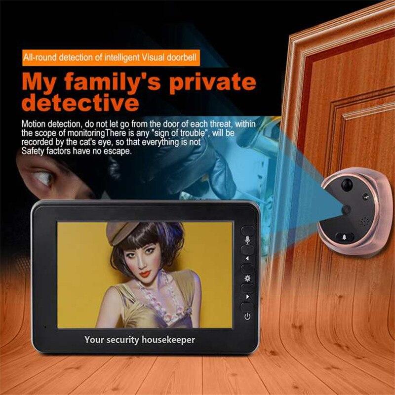 Электронный домофон просмотра 4,3 HD, автоматический видео фото глазок камера ИК Ночное Видение обнаружения движения безопасности Дверные з...