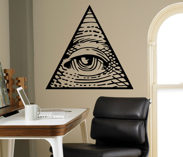 all seeing eye pyramid wall vinyl decal illuminati sigh sticker