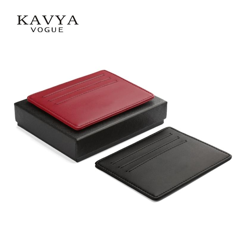 KAVYA NEW 슬림 미니 정품 가죽 신용 카드 홀더 지갑 지갑 지갑 가방 파우치 러버 카드 케이스 선물 포장 무료 배송
