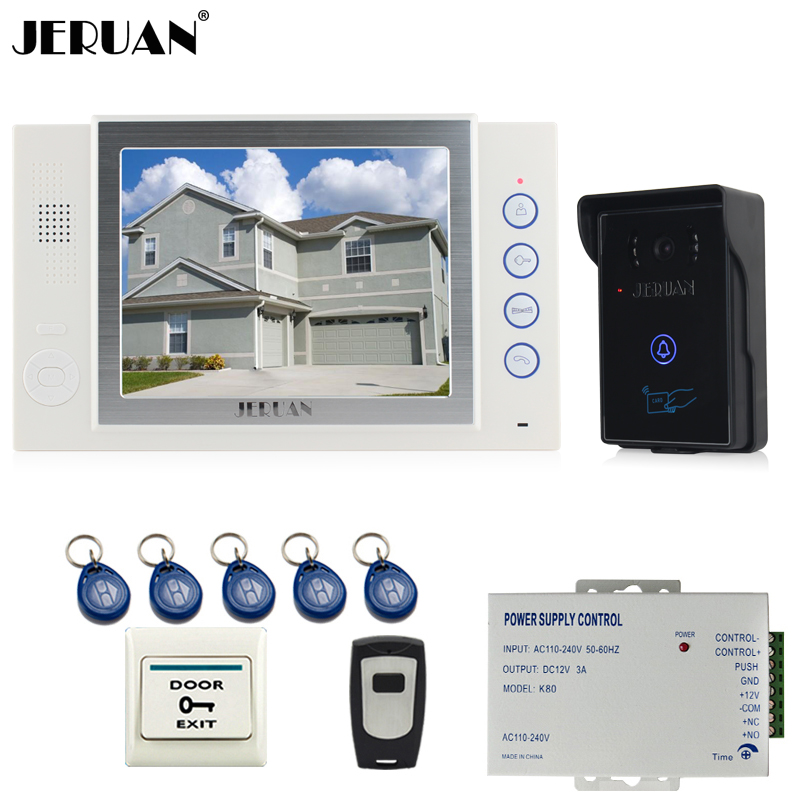 JERUAN 8`` video door phone doorbell intercom system home access control system RFID video recoreding +exit button