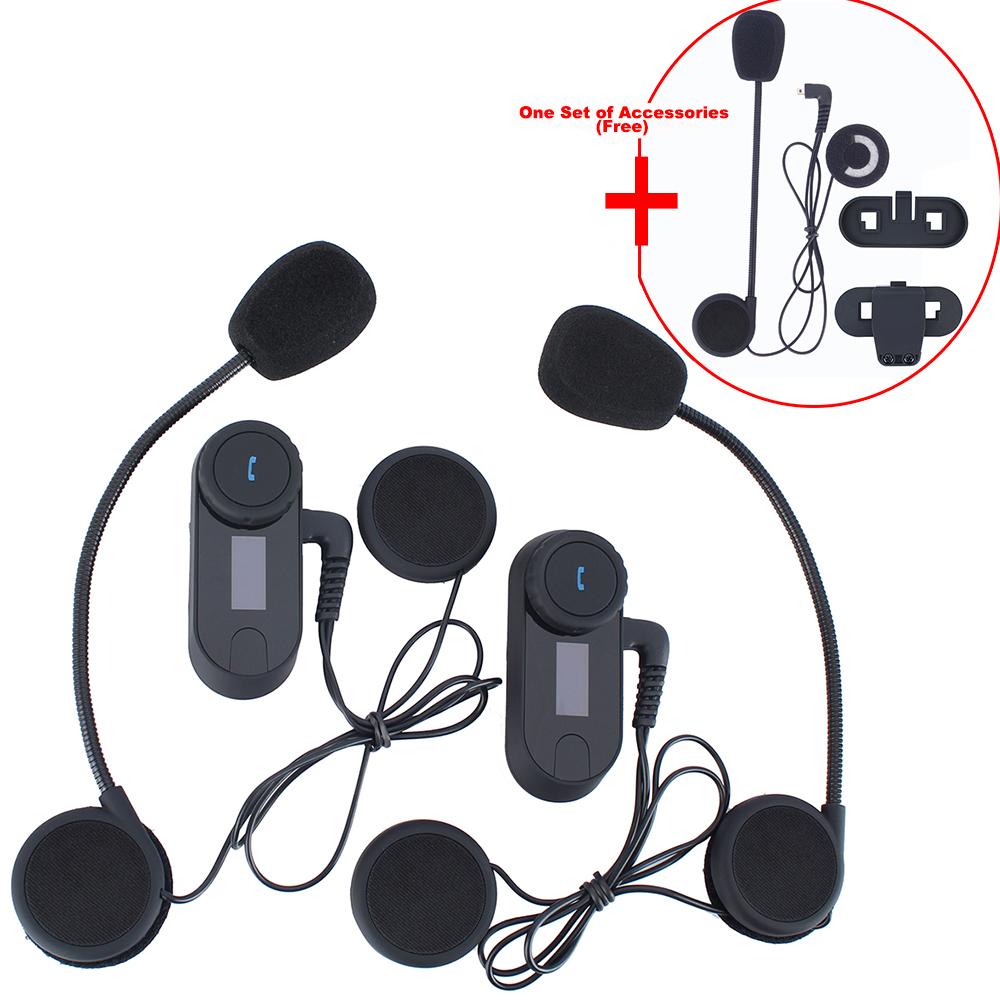 One Set Accessory Free! 2 Pcs Motorcycle Helmet Bluetooth Interphone Helmet Intercom Headset For 3 Riders With LCD FM Radio