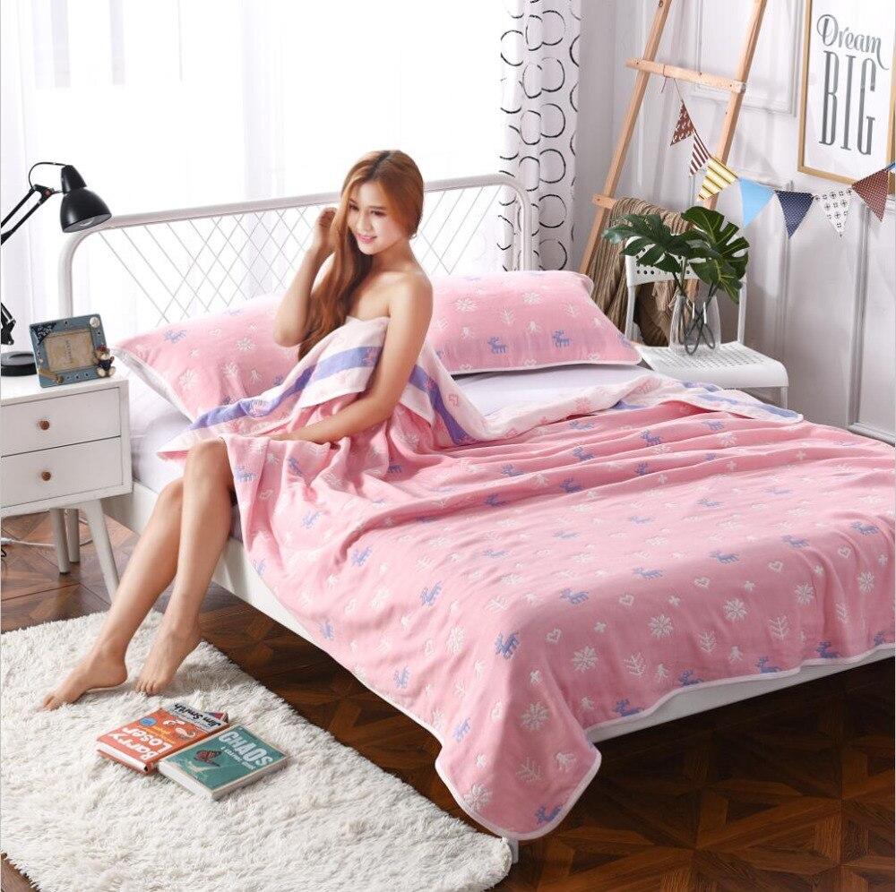 J pinno super weichen rosa sommer sechs schichten gaze reine baumwolle 100% teenager erwachsene decke bett größe 200*230 cm