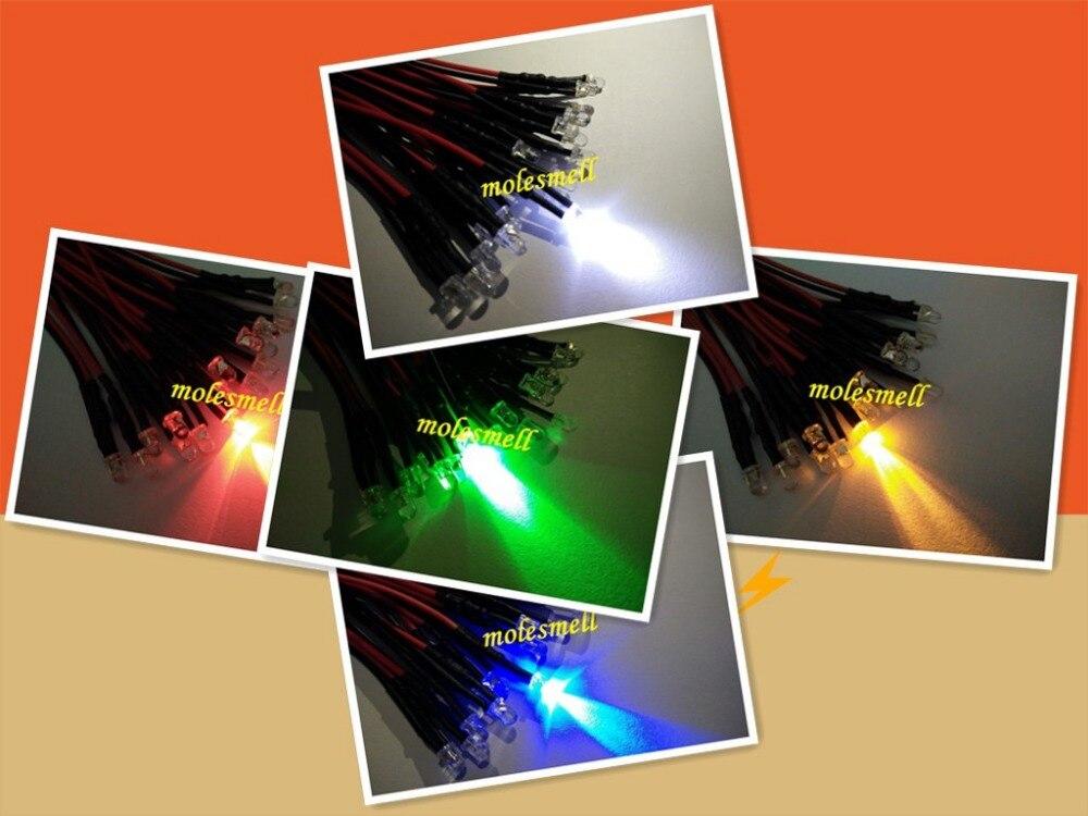 Pces 24v Piscando Vermelho Amarelo Azul Verde Branco Flash Led Lâmpada Luz Pré-wired dc Wired 1000 3mm 5v 12v