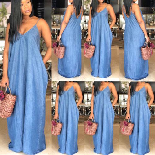 2019 Fashion Women Lady Boho Backless Summer Long Denim Maxi Dress Women Jean Dresses Loose Strapless Vestidos Plus Size S-XXXL 2