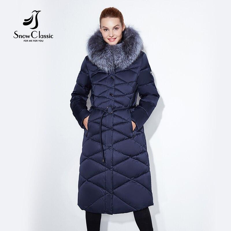 Femmes manteau d'hiver veste femmes chaud épais parka renard col de fourrure outwear de mode de luxe grande taille 5xl X-Long mince Solide SnowClassic
