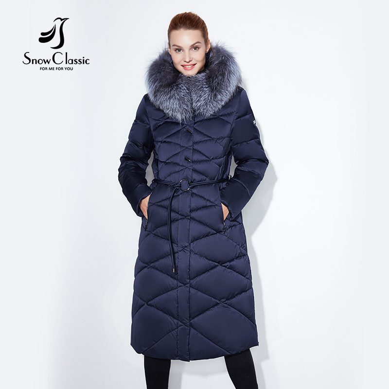 Women winter coat jacket women warm thick   parka   fox fur collar outwear fashion luxury big size 5xl X-Long Slim Solid SnowClassic