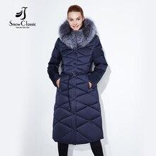 Женские зимняя куртка женская утепленная Толстая парка лисы верхняя одежда с меховым воротником модные роскошные большие размеры 5XL X-длинный тонкий сплошной snowclassic