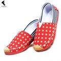 Pisos europeos Las Mujeres de Masaje Zapatos de Tela Zapatos de Plataforma de Camuflaje Ocio Plaid Canvas Comfort Rojo Suave Moda de Primavera Zapato Plano