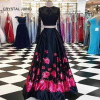 CRYSTAL JIANG New Arrival O Neck Long Sleeves Evening Gown Custom made Two Pieces A Line Elegant Long Evening Dresses