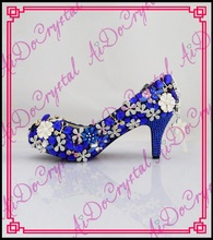 Aidocrystal fashion rhinestone flower low heel bridal wedding high heels royal blue womens dress shoes