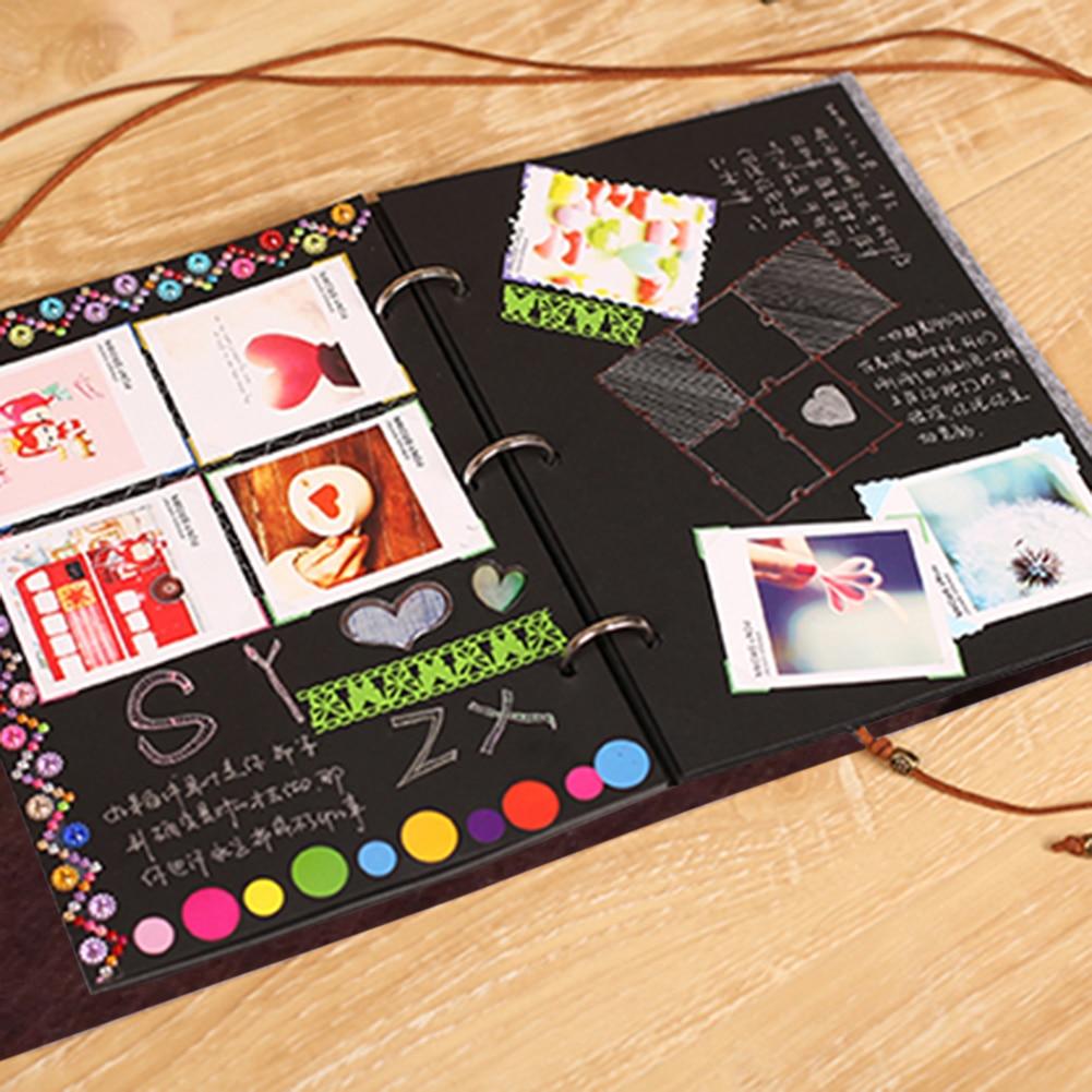 Felt Cover Photo Album 30 Black Sheets Scrapbook Album DIY ...