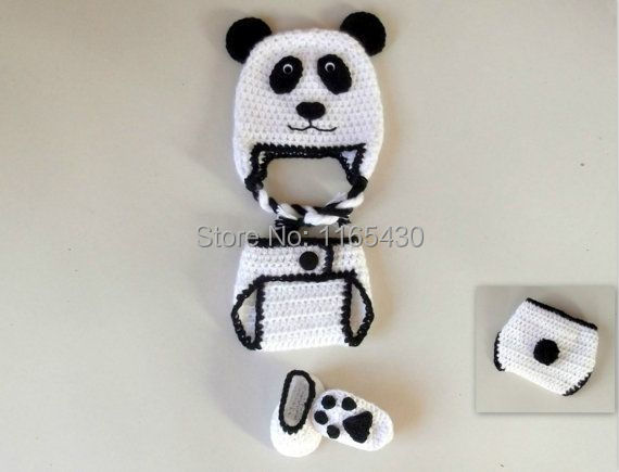 Free Shipping Panda Bear Baby Set Crochet Pattern Beanie Earflap