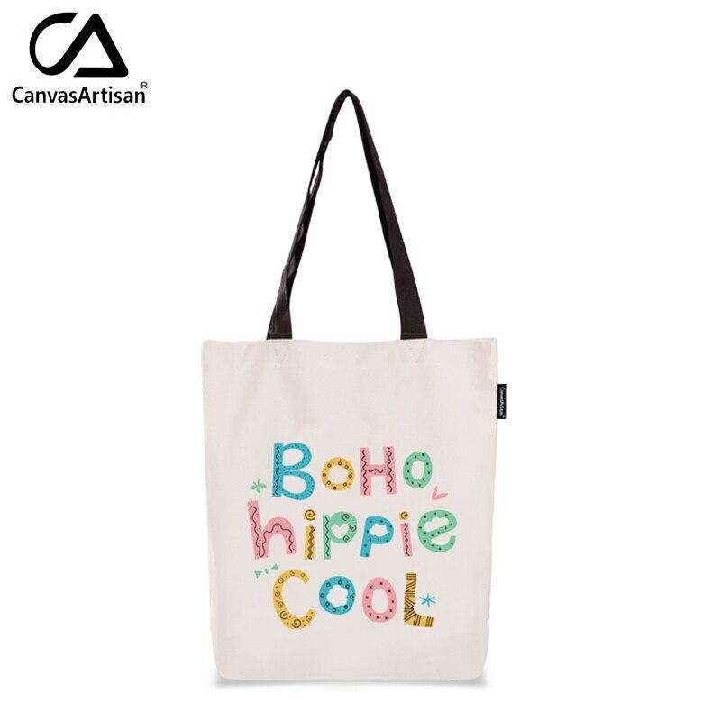 2017 Brand New Womens Canvas Shopping Shoulder Bags Female Simple Storage Handbag Cartoon Style Printed Beach Tote Bag