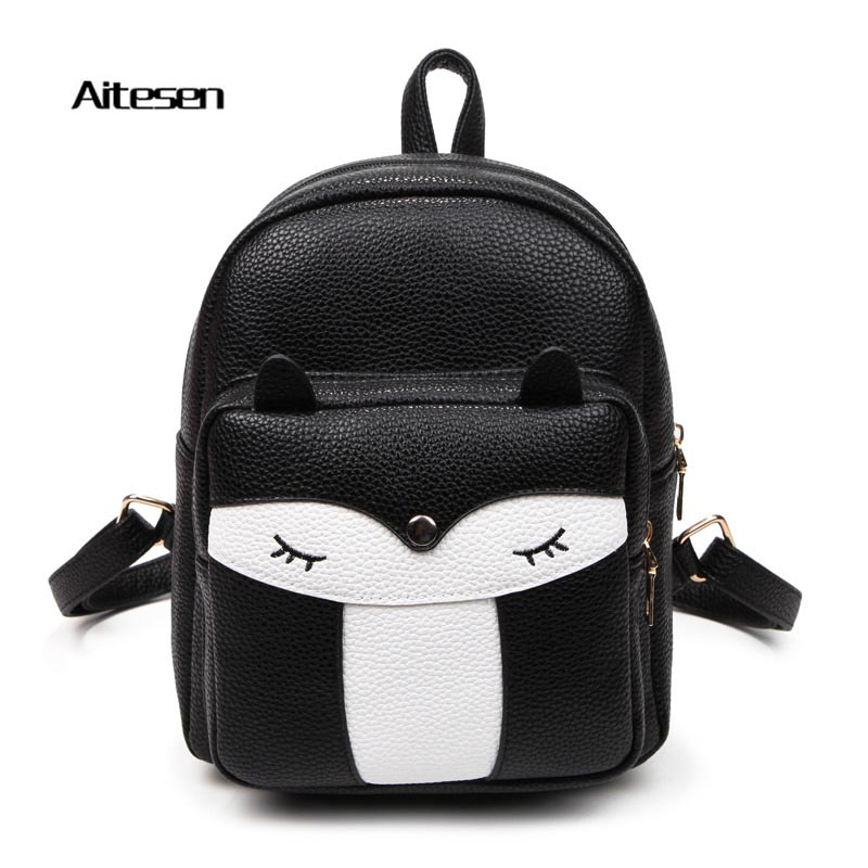 2016 New fashion lovely Cartoon Owl Fox Girls Boys student purity shoulder Backpack PU high quality