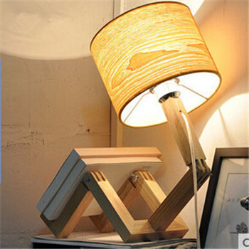 Europe Wooden Table Lamp E27 Beige Fabric Lamp Shade Table Lamp Creative  Changeful Robot Bedside Lamp