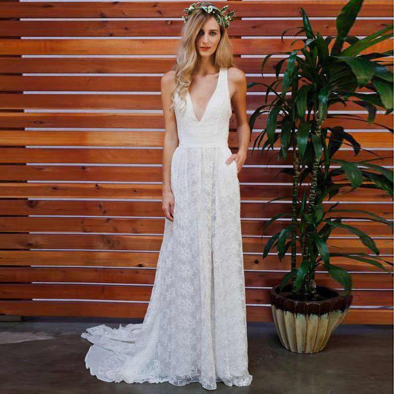 לורי Boho חתונה שמלת תחרה V צוואר אונליין ללא משענת תפור לפי מידה החוף לבן שמלת הכלה נסיכת חתונה שמלת משלוח חינם