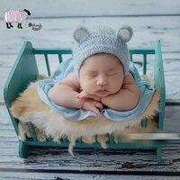 Sessões de babá e Newborn Fotografia Prop Handmade De Madeira Log Berço de Madeira Cama de Bebê Da Menina Do Menino Foto Tiro do Estúdio Posando foto prop