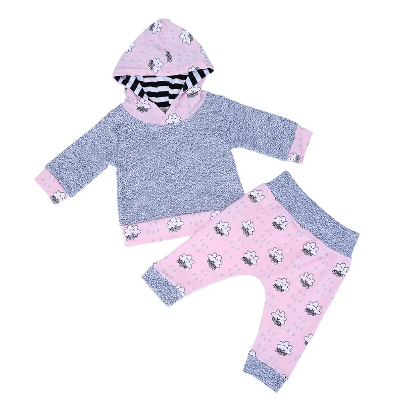 2pcs/set Newborn Baby Clothing Cute Smile Clouds Hooded Tops + Pink Pants Cute Autumn Warm Baby Girls Clothes Set
