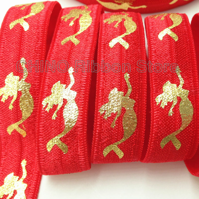 10 yards High Quality 5/8 Gold Mermaid Print Fold Over Elastic Sea-maid Red FOE Ribbon for Hair Tie DIY Headwear Hair Accessory