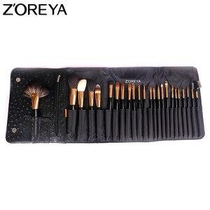 Image 4 - ZOREYA brochas de maquillaje para mujer, conjunto profesional de 24 Uds de pelo de Sable, herramienta de maquillaje para belleza