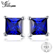 Created Fashionable Blue Sapphire 925 Sterling Silver Stud Earrings