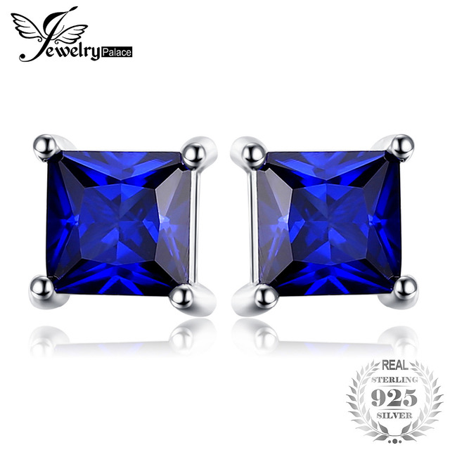 JewelryPalace Square 0.8ct Created Blue Sapphire 925 Sterling Silver Stud Earrin