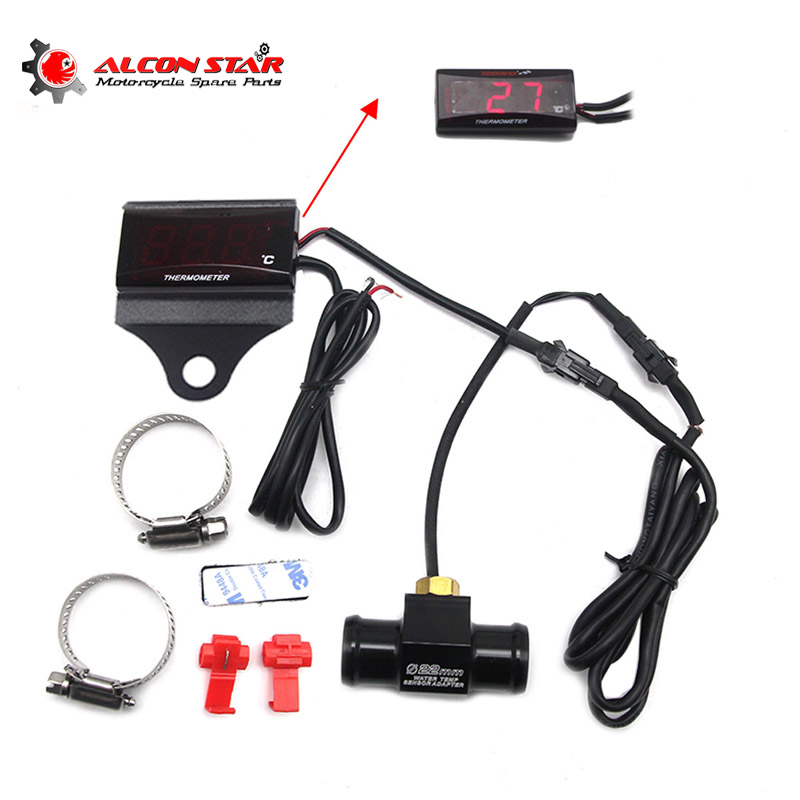 Red Motorcycle LCD Water Thermometer Kit Water Temp Gauge 22mm Sensor Connector