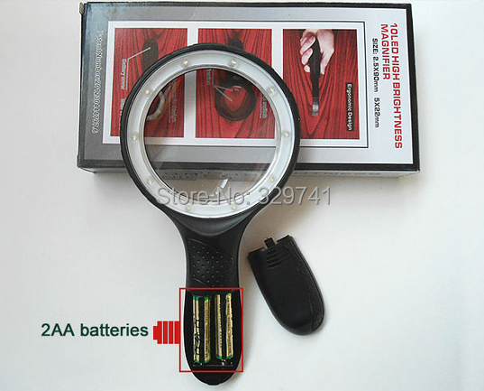 2.5x, 5x 10 LED Potable Hand Hold Magnifier Glass Loupe Reading Magnifying Glass