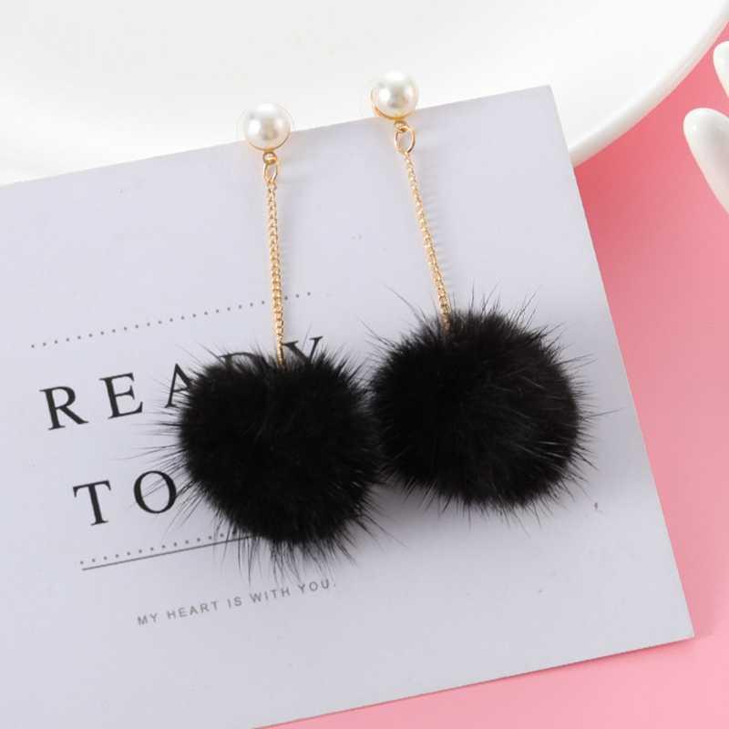 4 Colors Female Fur Ball Long Tassel Earring Round Drop Earrings Fluffy Hairball Dangle Earrings For Women Fashion Jewelry