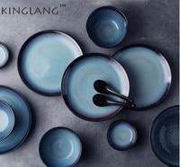 Kinglang Ceramic Pigment Retro Round Rice Plate Meat Fruit Plate Household Tableware Set