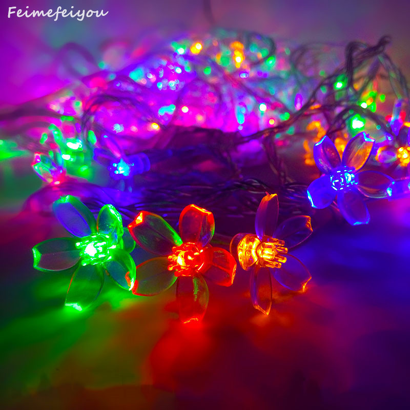 10m 100led Cherry Multicolor LED Garlands String Lights Påskeferie Lys Bryllup Dekor Lighting EU USA Flor Cereza Luces