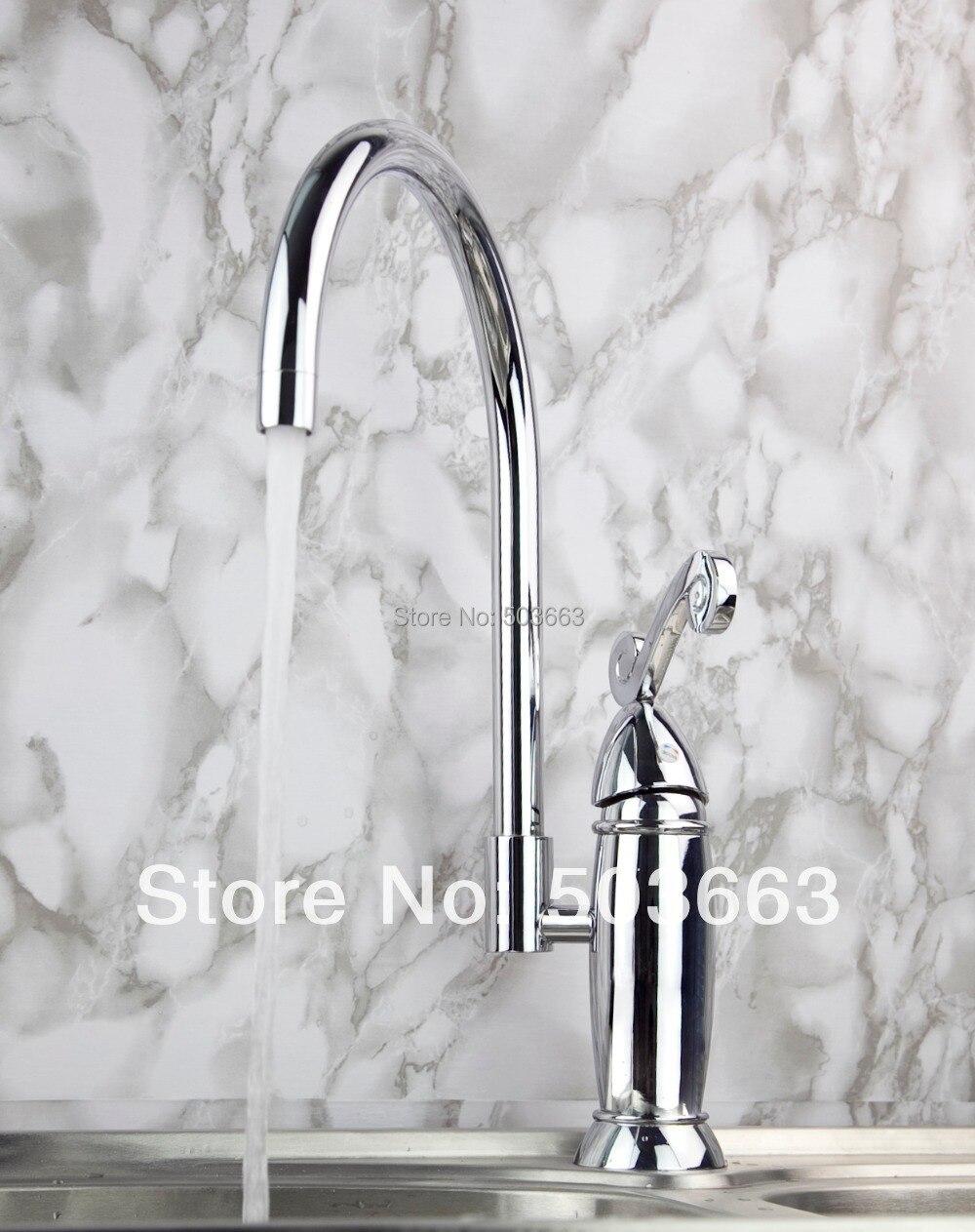 Pretty Swivel Chrome Brass Bibcock Kitchen Faucet Spout Vessel Basin Sink Single Handle Deck Mounted Mixer