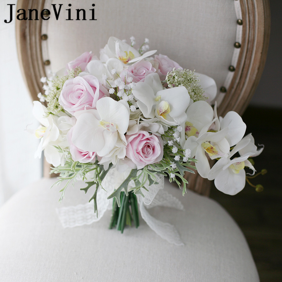 JaneVini 2019 Waterfall Pink Wedding Flowers Bridal Bouquets Artificial White Orchid Lace Bridal Bridesmaid Bouquet De Mariage