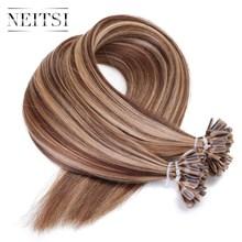 """Neitsi бразильского прямые Fusion кератина волос ногтей Подсказка машина сделала человеческих Наращивание волос 16 """"20"""" 24″ 1 г/локон 50 г 5 цветов"""