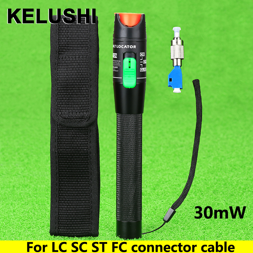 KELUSHI 30mW Visual Fault Locator Fiber Cable Tester FC Male to LC Female Adapter for LC / SC / ST / FC Fiber Cable Red Light Source