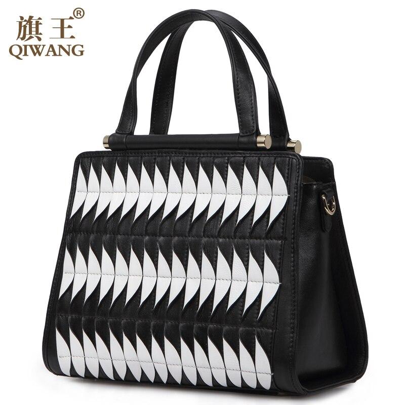 Qiwang Cool Design Geometric Bag Fish Bone 100% Genuine Leather Tote Bag Patchwork Women Tote Bag 2017 newest geometric embossing design 100