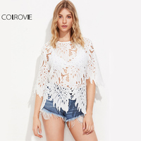 COLROVIE Hollow Out Leaf Lace Blouse White Sexy Tops 2017 Women Novelty Sheer Summer Tops Elegant