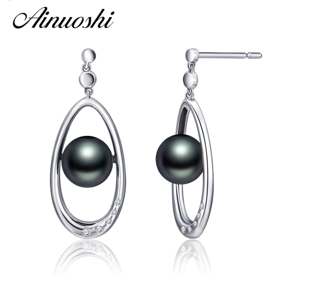 AINUOSHI 925 Sterling Silver Earring 9mm Natural Black Cultured Pearl Hollow Drop Earring Gifts Women Fashion Engagement Jewelry