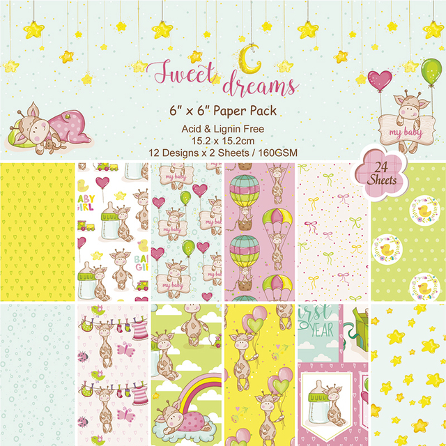 6 inch Sweet Dream handmade background paper pads patterns 24sheets,scrapbook paper origami  DIY  Home deco