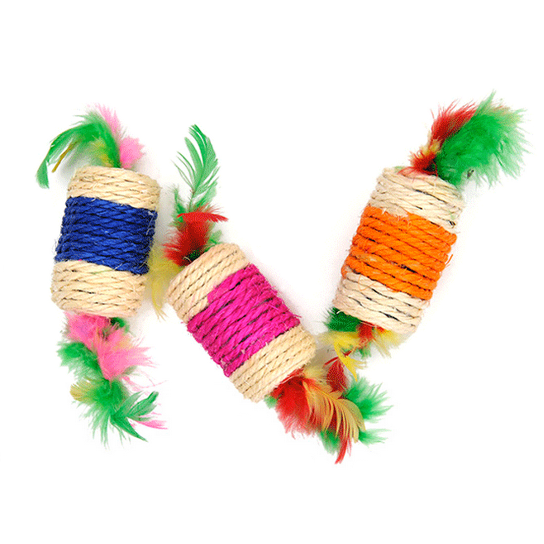 Hot Sale! Pet Cat Toys Rolling Sisal Scratching Feather Toys for Cats Puppy Kitten Cat Product Pet Training Supplies