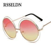 RSSELDN 2017 New Elegant Round Wire Frame Sunglasses Women Fashion Quality Glasses Shades Oversized Eyeglasses Oculos de sol