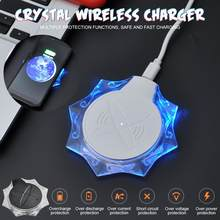 New K10 Crystal Wireless Charger Pad Mobile Phone Wireless Receiver Charging Base Universal Charge Base For Apple IOS Android(China)